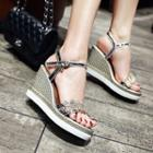 Rhinestone Leaf Wedge Sandals