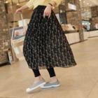 Inset Plain / Floral Crinkled Skirt Leggings