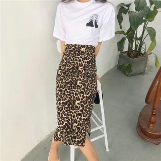 Animal Print Midi Fitted Skirt