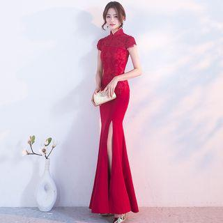 Lace Panel Short Sleeve Side Slit Maxi Qipao