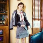 Set: Applique Piped Jacket + Skirt