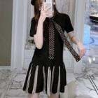 Flare Hem T-shirt Dress With Dotted Tie