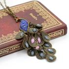 Gemstone Peacock Pendant Necklace