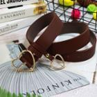 Heart Buckled Faux Leather Belt