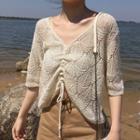 Elbow-sleeve Drawstring Pointelle Knit Top