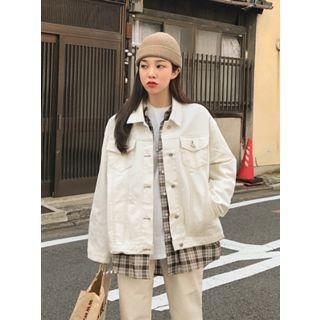 Stitched Boxy-fit Jacket Cream - One Size