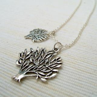 Silver Double Trees Necklace Silver - One Size