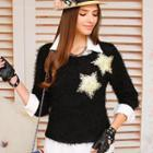 Star Accent Furry Sweater