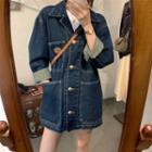 Denim Button-up Jacket Blue - One Size