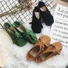 Bow-accent Round-toe Stitched Flats