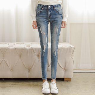 Distressed Paint Splattered Skinny Jeans