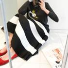 Striped Flare Midi Skirt