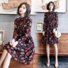 Long-sleeve Print Chiffon Dress