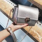 Faux Leather Buckled Chained Shoulder Bag