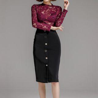 Set: Long-sleeve Lace Top + Buttoned Pencil Skirt