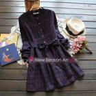 Tied-waist Check Shirt Dress