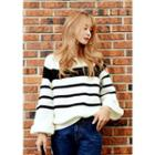 Bell-sleeve Color-block Knit Top