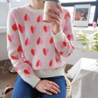 Round-neck Heart Patterned Knit Top