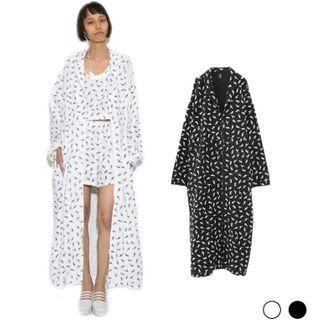 All Over Print Long Coat White - One Size