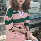 Lantern-sleeve Striped Polo Shirt