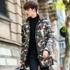 Hooded Camouflage Printed Padded Jacket