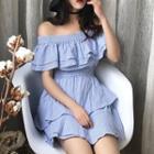 Flounced Off-shoulder Short-sleeve A-line Dress