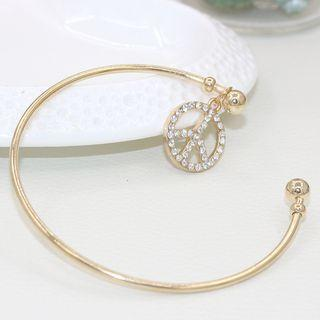Rhinestone Peace Open Bangle