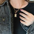 Square Pendant Chain Necklace Gold - One Size