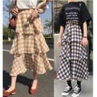 Check Tiered Midi Skirt