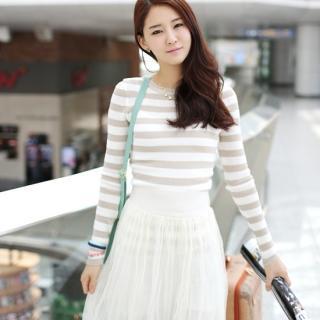 Round-neck Stripe Knit Top