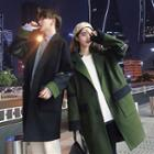 Couple Matching Contrast Panel Buttoned Coat