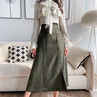 High-waist Maxi A-line Skirt
