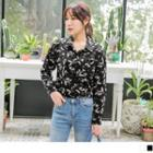 Leaf Print Pocket Blouse