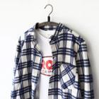 Stand Collar Long-sleeve Plaid Shirt