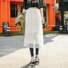 Mesh Overlay Lace Midi Skirt
