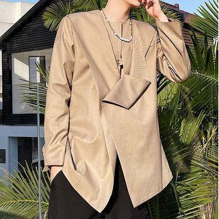 Long Sleeve Asymmetrical Pleated Blazer