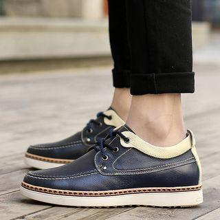 Genuine Leather Contrast Trim Stitched Oxfords