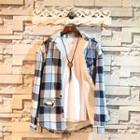 Hooded Fleece-lined Plaid Shirt