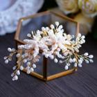 Faux Pearl Rhinestone Bridal Hair Comb Gold - One Size