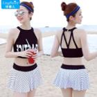 Set: Lettering Tankini + Striped Swim Skirt