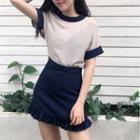 Panel Short-sleeve Chiffon Top / Mini Skirt