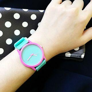 Color Panel Silicone Strap Watch Green - One Size