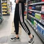 Contrast-trim Lettering Cropped Sweatpants