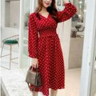 Puff Sleeve V-neck Dotted Print A-line Dress