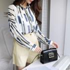 Long-sleeve Pattern Chiffon Shirt