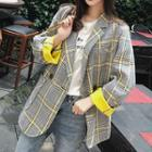 Color-block Plaid Blazer
