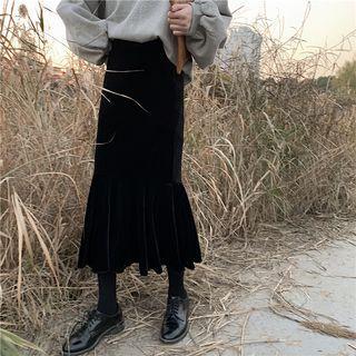 Velvet Midi Mermaid Skirt Black - One Size