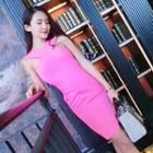 Sleeveless Cutout-back Sheath Dress