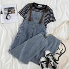 Cropped Straight-fit Denim Dungaree Pants