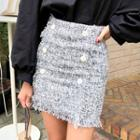 Double-buttoned Fringed Tweed Miniskirt
